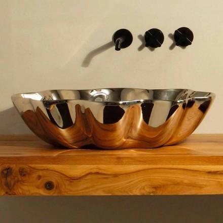 Aufsatzwaschbecken in modernem Design, aus Keramik made in Italy Cubo