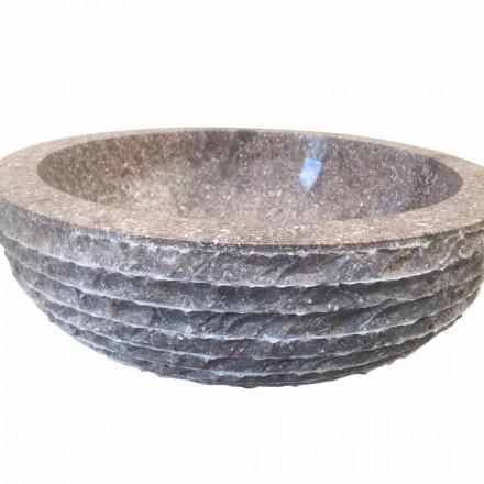 Aufsatzwaschbecken aus Naturstein grau Finn, Einzelstück