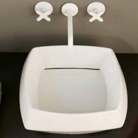 Aufsatzwaschbecken aus weißer Keramik, modernes Design Simon, Italy
