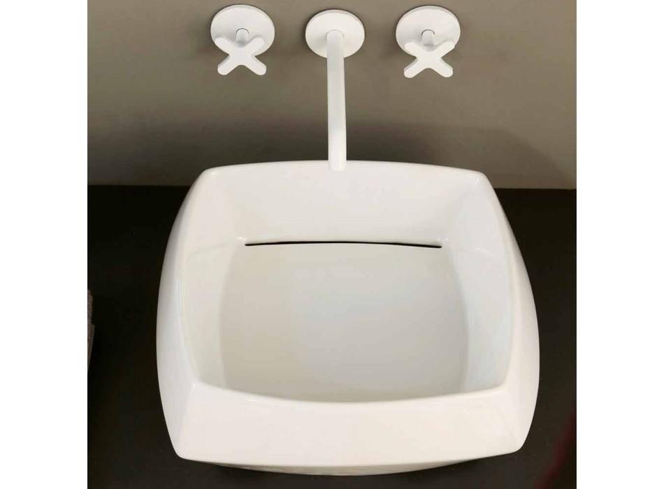 Aufsatzwaschtisch in Weiß Keramik Design Made in Italy Simon