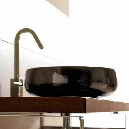 Aufsatzwaschbecken aus Keramik Raku handgemacht in Italien, Ramon