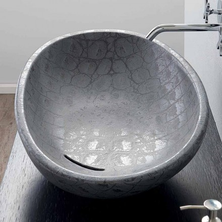 Aufsatzwaschbecken aus Keramik mit grauem Kokosnussaufdruck Glossy