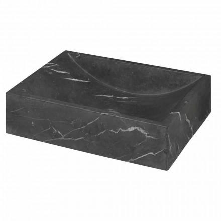 Aufsatztwaschbecken aus schwarzen Marmor Marquinia quadratisch – Bernini