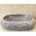Aufsatzwaschbecken aus grauem Stein Ivy, handgefertigtes Design-Einzelstück