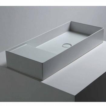 Modernes Aufsatzwaschbecken in weißer oder farbiger Keramik Sun 85x37 cm