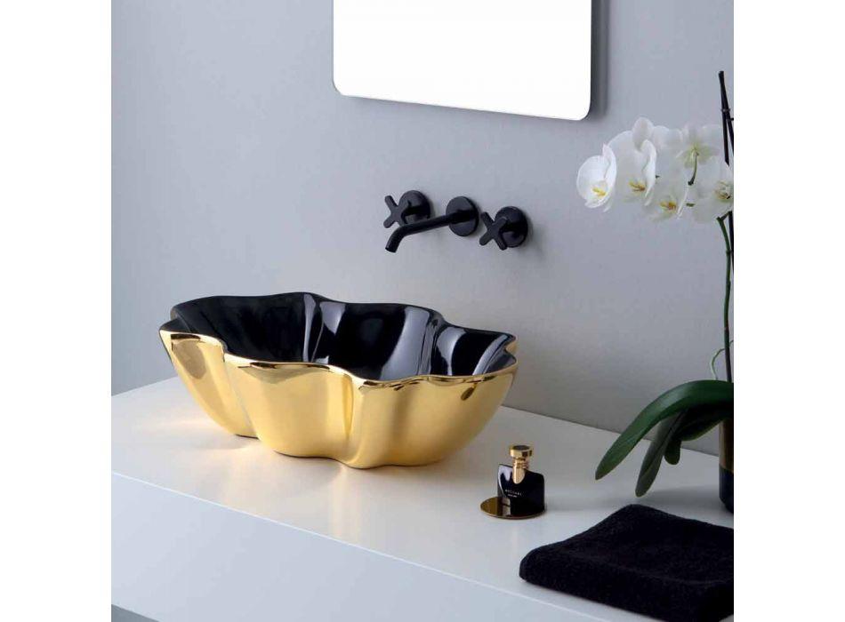 Modernes Aufsatzwaschbecken aus Gold und schwarzer Keramik aus italienischem Cubo