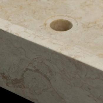Weißes Aufsatzwaschbecken aus Naturstein Jef, Unikat