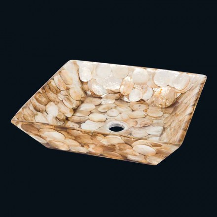 Quadratisches Design-Aufsatzwaschbecken Akira, aus künstlichem Harz.
