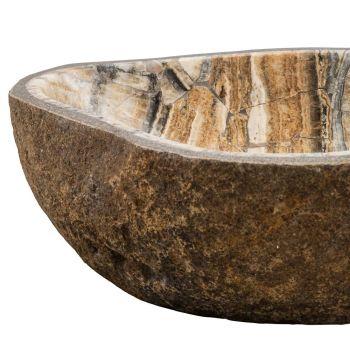 Aufsatzwaschbecken handgefertigt aus Flussstein, Palata