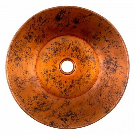 Rundes handgemachtes Aufsatzwaschbecken aus Kupfer, Palosco, Unikat