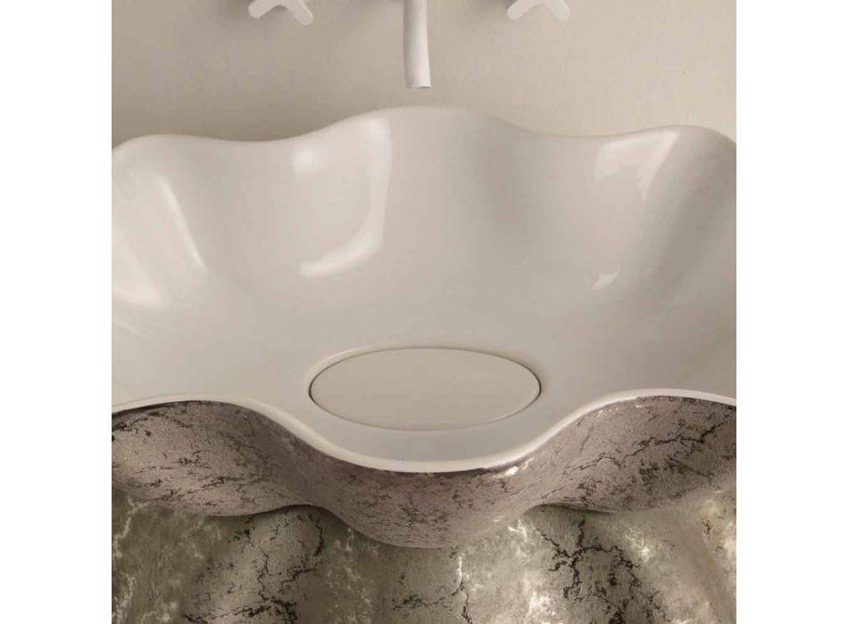 Weißes silbernes keramisches Aufsatzwaschbecken hergestellt in Italien Cubo