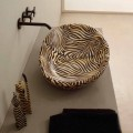 Aufsatzwaschbecken, Design, Keramik, gestreift, orange Glossy Italy
