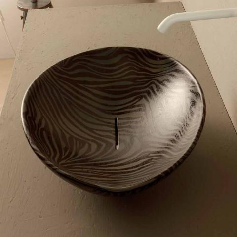 Schwarz Keramik Zebra Design Arbeitsplatte Waschbecken in Italien Tiere gemacht