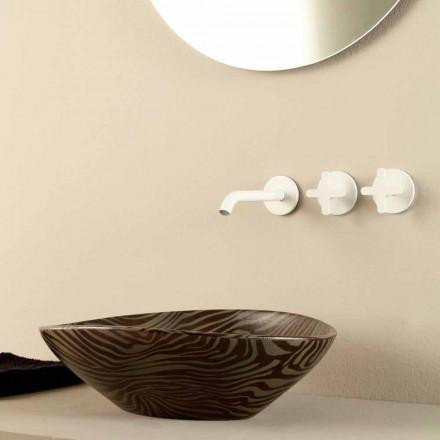 Aufsatzwaschbecken aus Keramik, gestreift made in Italy Design Animals