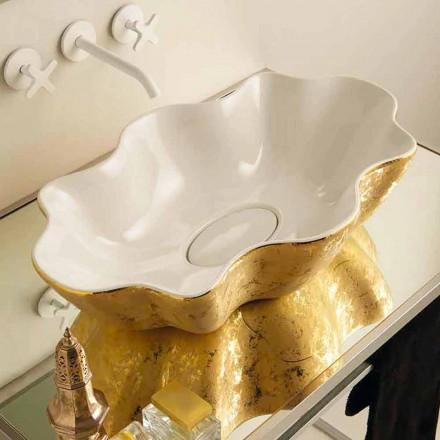 Aufsatzwaschbecken Design aus weißer goldfarbener Keramik Cubo Italy