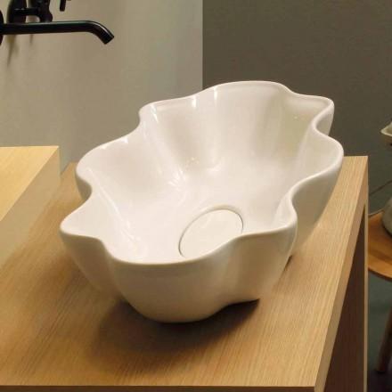 Aufsatzwaschbecken modernes Design, weiße Keramik made in Italy Cubo