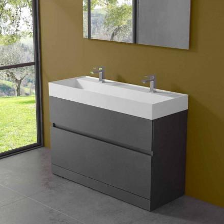 Doppelwaschbecken mit Bodenschrank Modernes Design in Laminat - Pompei