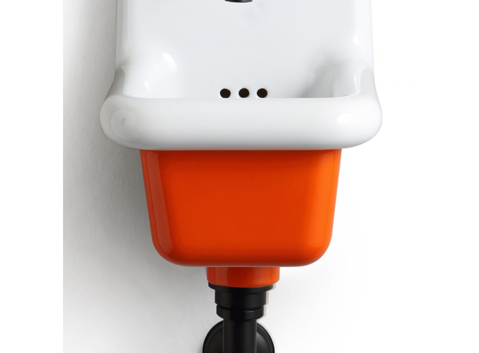 Freistehendes Badezimmerwaschbecken aus weißer und farbiger Keramik 26 cm - Jordan