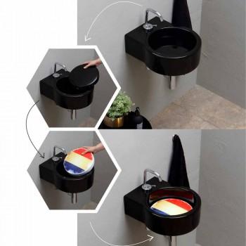 Aufsatz- / Aufsatzwaschbecken aus schwarzer Keramik made in Italy Tor