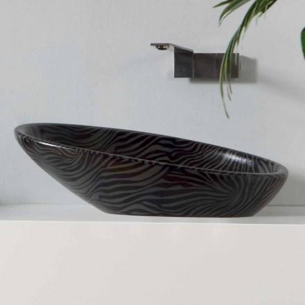 Modernes Aufsatzwaschbecken aus Silberkeramik made in Italy Glossy