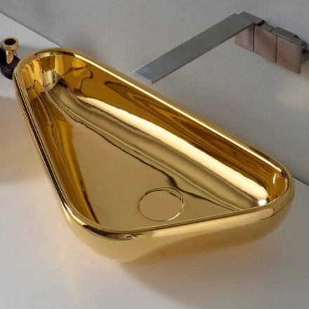 Modernes Aufsatzwaschbecken aus goldener Keramik, hergestellt in Italy Sofia
