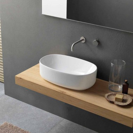 Oval Modern White Keramik Arbeitsplatte Waschbecken - Ventori1
