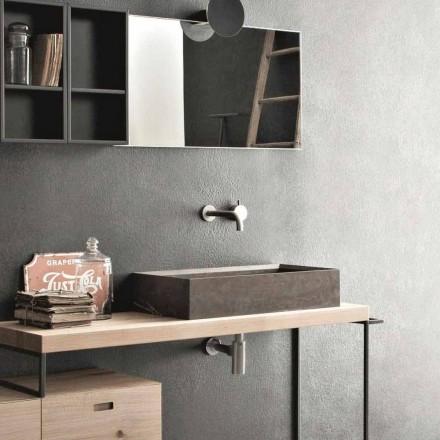 Rechteckiges und modernes Arbeitsplattenwaschbecken aus Designstein - Farartlav3