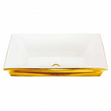 modernes Halbeinbauwaschbecken aus fire clay und gold 24 Karat, Guido