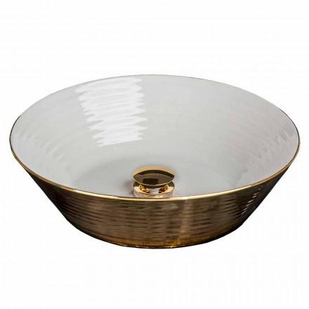 Aufsatzwaschbecken rund aus Porzellan und Gold 24 Karat, Felice
