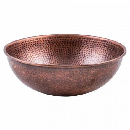 Rundes handgemachtes Aufsatzwaschbecken aus Kupfer, Palaia, Unikat