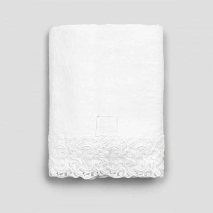 Weißes Leinenflachbetttuch mit Spitze für Doppelbett von hoher Qualität - Fiumana