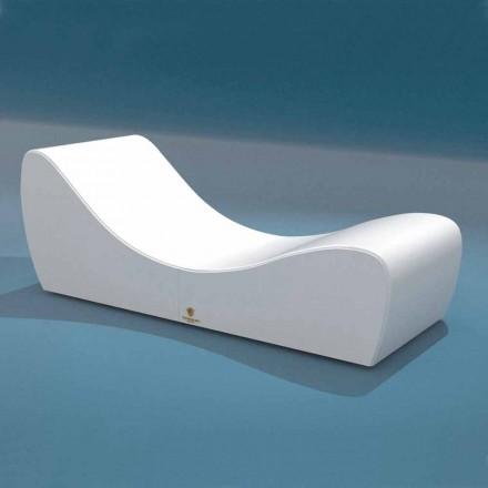 Onda Trona Entspannungsbett aus weißem nautischem Öko-Leder, hergestellt in Italien