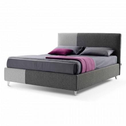 Doppelbett mit Box aus zweifarbigem Stoff Made in Italy - Jasmine
