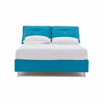 Doppelbett mit Behälter aus Stoff Made in Italy - Renato