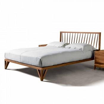 Design Doppelbett 160x200cm mit massiver Basis aus Alain-Nussbaum