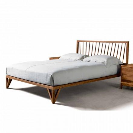 Doppelbett 160x200cm, Basis aus massivem Nussholz Desing Alain