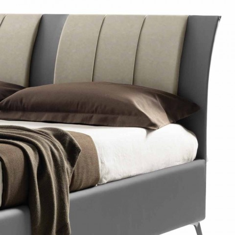 Gepolstertes Doppelbett mit Box aus zweifarbigem Ecoleather Made in Italy - Gagia