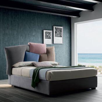 Gepolstertes Doppelbett mit Stofflager - Belle