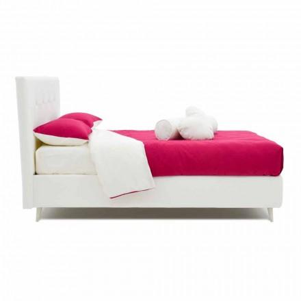 Doppelbett mit Kunstleder bezogen mit Swarovski Made in Italy - Perzio