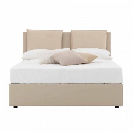 Modernes Doppelbett aus Kunstleder und Stoff Made in Italy - Zeldo