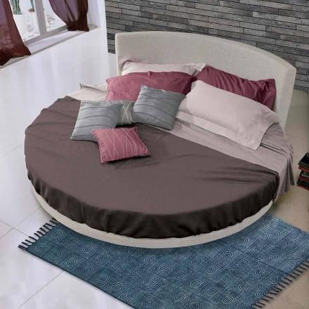 Rundes Design Doppelbett mit Stoffbezug, Made in Italy - Rello