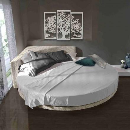 Modernes rundes Doppelbett mit eckigem Kopfteil Made in Italy - Tima