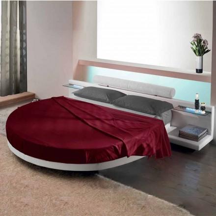 Rundes Doppelbett mit Ecoleather bezogen, Made in Italy Design - Vesio