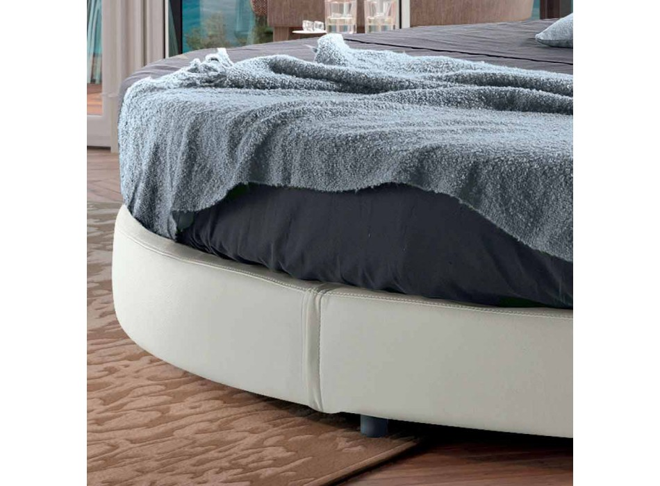 Rundes Design Doppelbett mit Kunstleder überzogen - Faenza