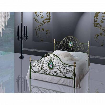 Jugend Queen Size Bett aus Schmiedeeisen Turchese