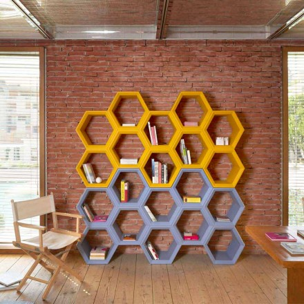 Farbiges Wand-Bücherregal mit Zellen Slide Hexa, hergestellt in Italien