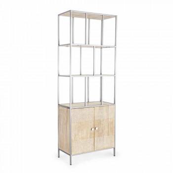 Boden Bücherregal mit Struktur aus verchromtem Stahl und Holz Homemotion - Madiz