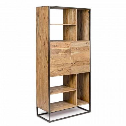 Homemotion - Goliath Floor Bücherregal aus Akazienholz und lackiertem Stahl