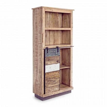 Homemotion Floor Bücherregal aus Mangoholz mit Stahleinsätzen - Vidia