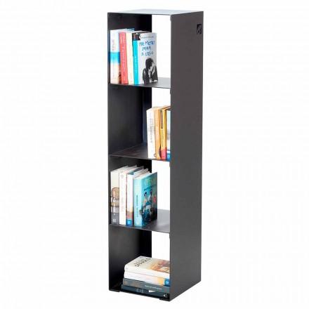 Modernes Boden Bücherregal in Schwarz, Rot, Weiß, Grau Eisen Made in Italy - Cauro